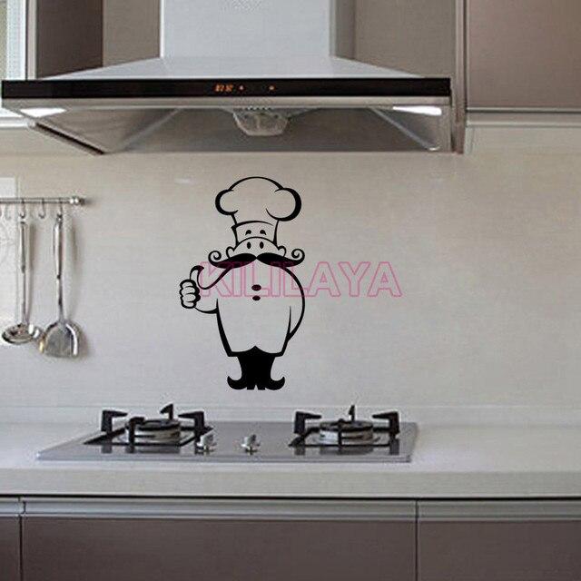Stickers Kitchen Chef Cook Vinyl Wall Sticker Decals Murals Tile Art Restaurant Wallpaper Home Decor