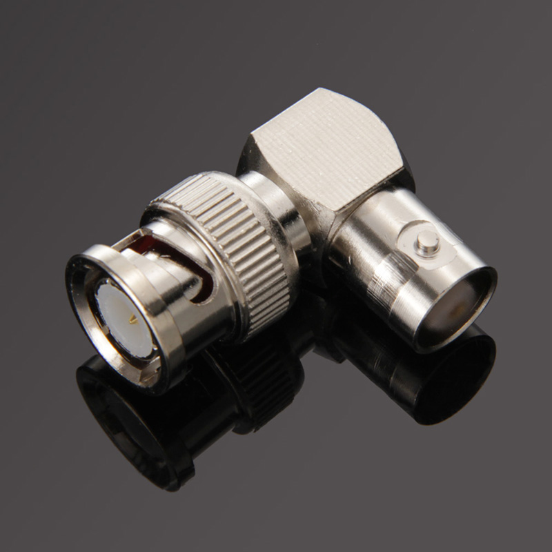 Pro Electrical Accessories BNC Male To BNC Female Jack In Series Right Angle RF Adapter Connector CCTV Terminals