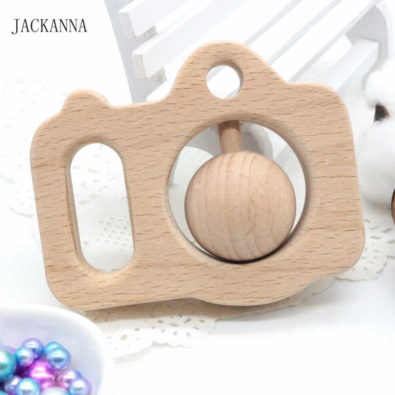 Madeira de faia câmera mordedores de madeira chocalho do bebê mordedores mão montessori brinquedo eco-friendly jogo de madeira ginásio bebê mastigar brinquedos bpa livre