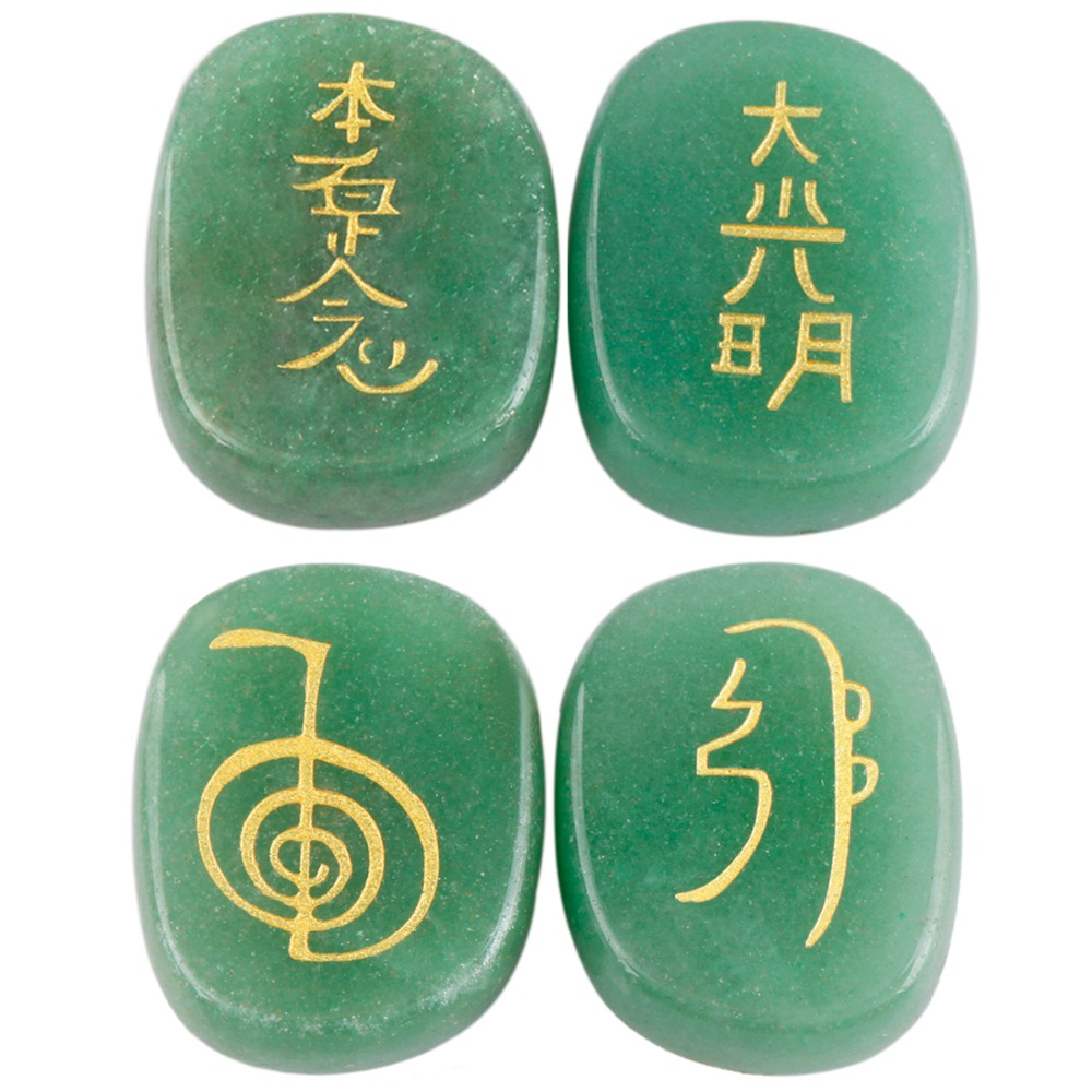 Sunyik 1set 4pc green aventurine engraved stonepalm usui stone sunyik 1set 4pc green aventurine engraved stonepalm usui stone healing crystal chakra reiki symbols in jewelry packaging display from jewelry biocorpaavc Image collections