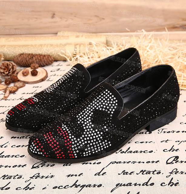 142e5c5d5 European style round toe rhinestone suede leather flat shoes men British  style Black slip on men flats cool men s loafers