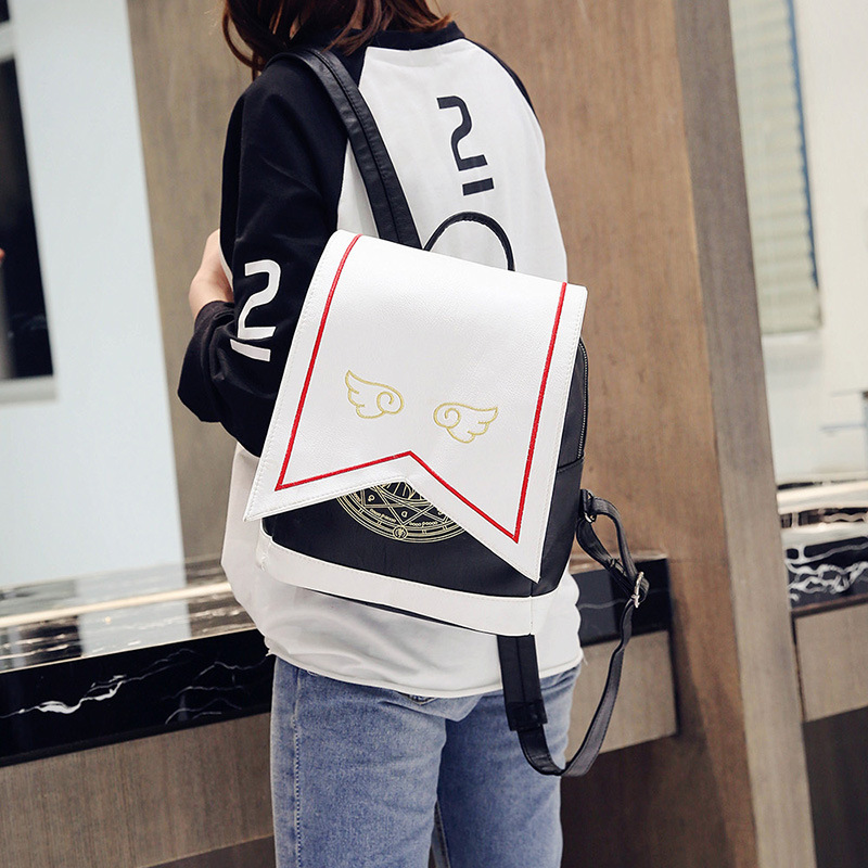 New Japanese Style Cute Backpack Embroidery Wings Sakura Magic Department Pu Shoulder Bag Cartoon Backpack Student School Bag japanese comic card captor sakura wings schoold backpack magical card girl sakura cosplay backpack sakura wings bag