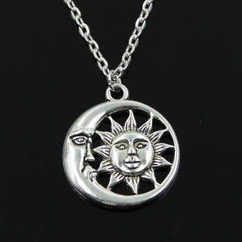 New Fashion Sun Moon Pendants Round Cross Chain Short Long Mens Womens Silver Color Necklace Jewelry Gift