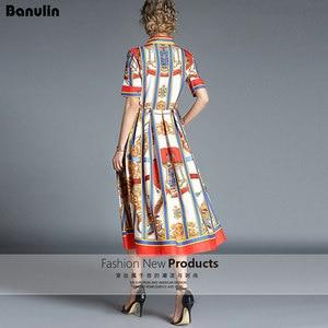 Image 2 - Banulinคุณภาพสูง 2020 ใหม่ล่าสุดรันเวย์Designerฤดูร้อนของผู้หญิงแขนสั้นเสื้อคอพิมพ์ลายBow MIDIชุด
