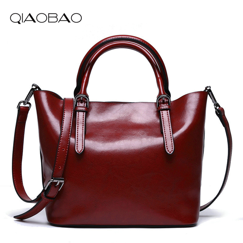 QIAOBAO 100% Genuine Leather Bags Ladies Famous Brand Women Handbags High Quality Tote Bag for Women Fashion Hobos Bolsos