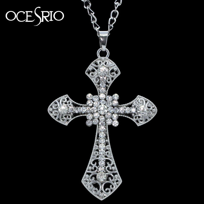 2 colors options!  new hip hop silver big cross long pendant necklace for women man new nke-e32