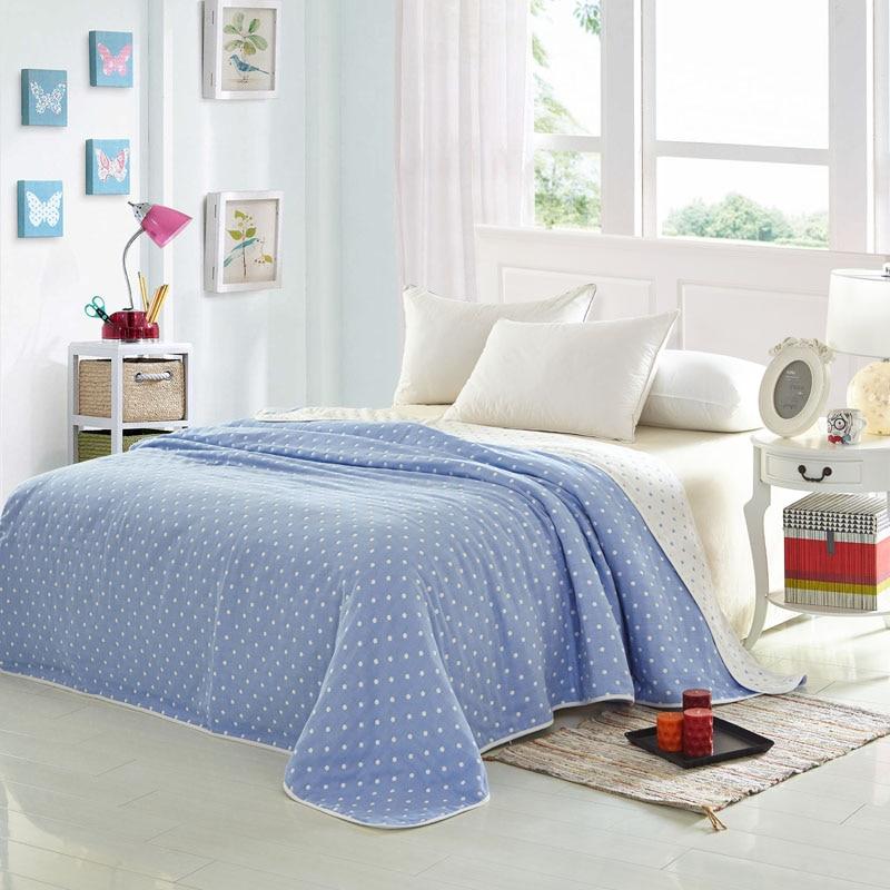 Hilados de Algodón 100% Teñido Suave Manta de Cama Textiles Azul ...