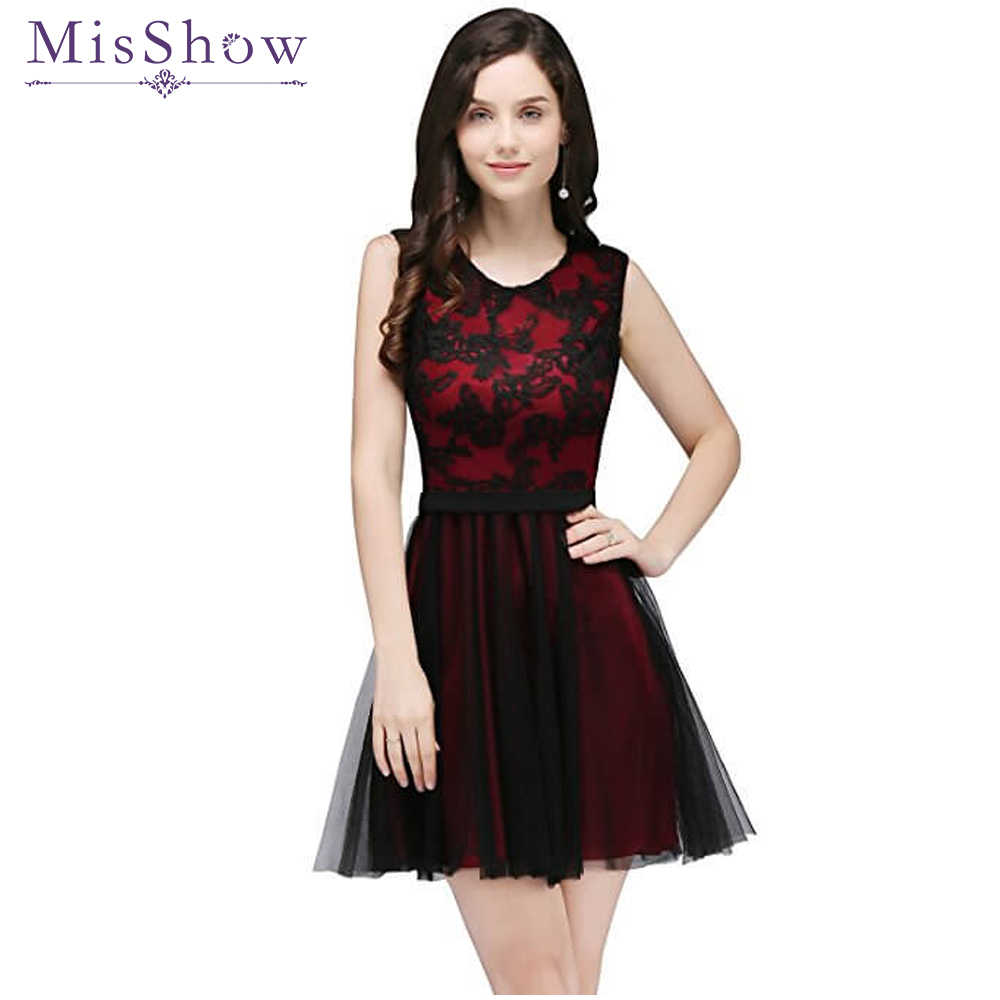 2b218be2ad Vestido de Festa Curto Sexy Burgundy Pink Tulle Short Prom Dresses 2019  Black Lace Cheap Real