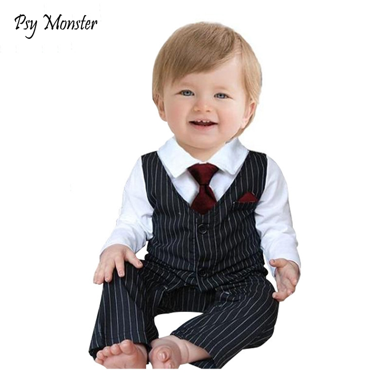 2017 Baby Boy Clothes Baby Gentleman Jumpsuit Rompers + Tie Newborn Baby Boys Long Sleeve Clothing Kids Infant Body Suit A16