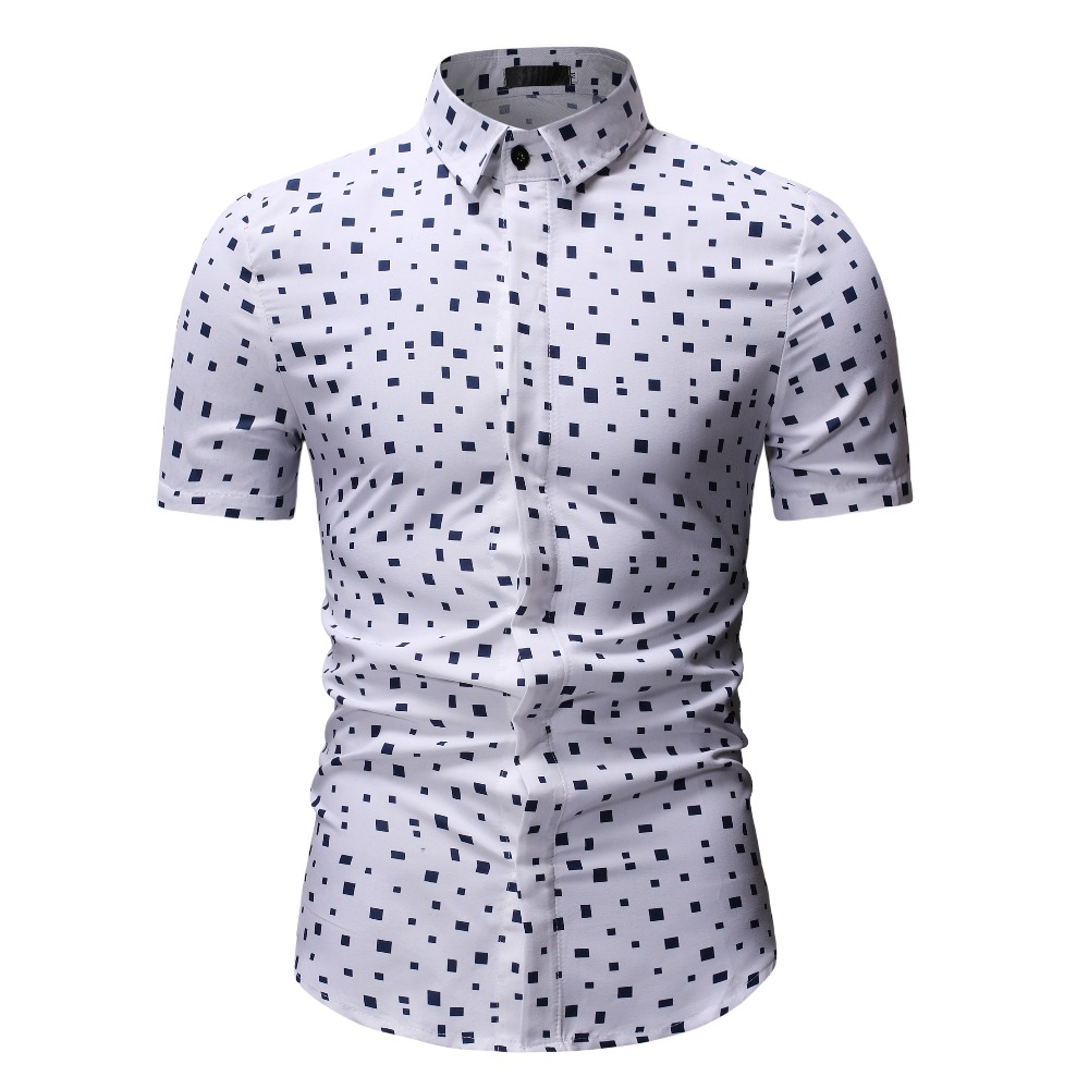 25c599b0 2019 Summer Men's Short Sleeve Shirts Solid Square European tops Business  Dress Short Sleeve Casual Dress Shirt Turn down Collar-in Casual Shirts  from Men's ...
