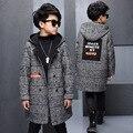 Winter Jacket Coat for Boys Fashion Stitching Pocket Woollen Woolen Zipper Children Coat Long-sleeve Keep Warm Kids Outerwear