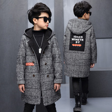 Winter Jacket Coat for Boys Fashion Stitching Pocket Woollen Woolen Zipper Children Coat Long-sleeve Keep Warm Kids Outerwear