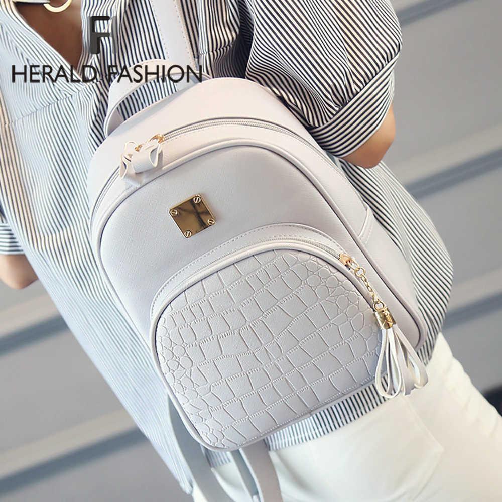 Herald Fashion Pu Kulit Ransel Wanita Ransel Kualitas Tinggi Klasik Bagpacks Tas Sekolah Mochila Feminina Tas Mahasiswa Panas