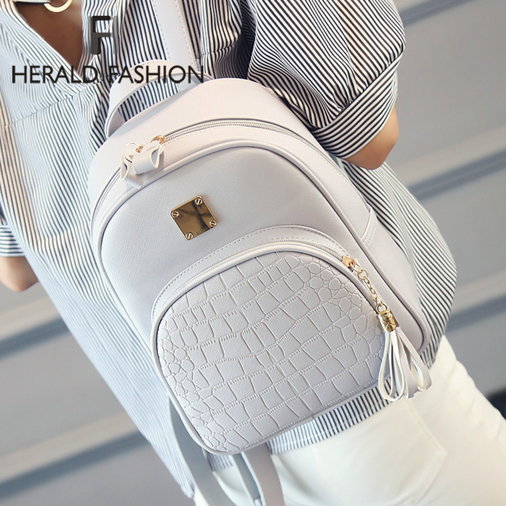 Herald Fashion Pu Leather Backpack Women Backpack High Quality Classic Bagpacks School Bag Mochila Feminina Bag For Student Hot