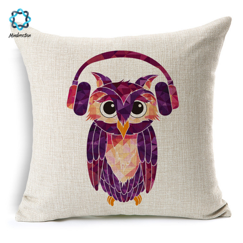 1 Pcs Cotton Linen Square Lovely Cartoon Owl Throw Pillow Case Decorative Sofa Bedroom Cushion Cover