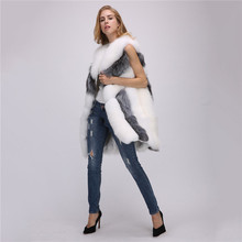 купить Faux Fur Coat Women Silver Fox White Fur Jacket 2019 New Autumn Winter S-4XL Plus Size Sleeveless Pocket Slim Coat Feminina JD54 по цене 2561.18 рублей