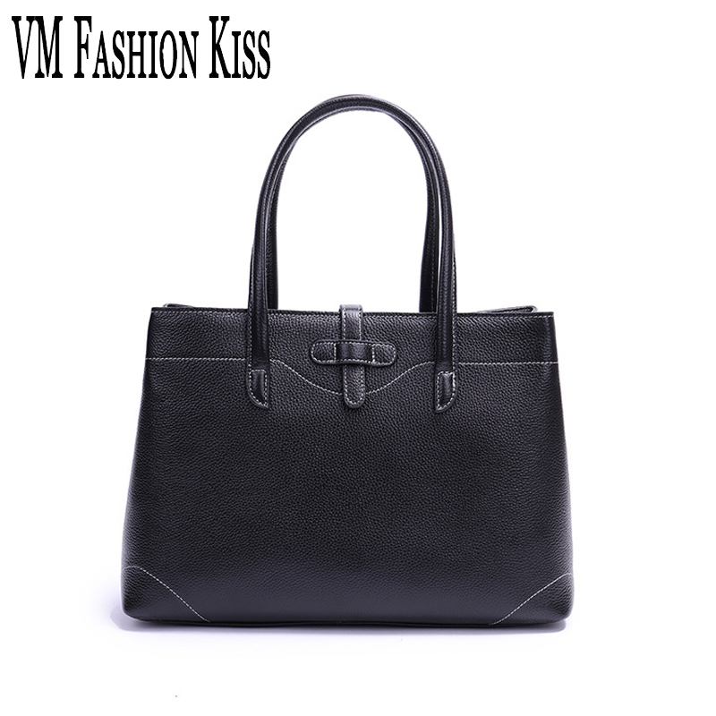 VM FASHION KISS Genuine Leather Simple Fashion Leisure Large Capacity Top-Handle Bags Women Bag 100% Real Cowhide Tote Bags 100% genuine leather women shoulder bags simple fashion real skin cowhide simple messenger bags leisure female messenger bag