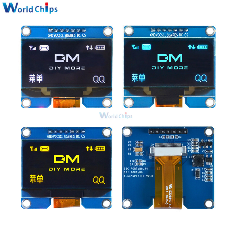 1.54 Inch 7PIN White/Blue/Yellow OLED Display Module 128x64 IIC I2C SPI Interface OLED Screen Board SPD0301 Drive IC 3.3-5V