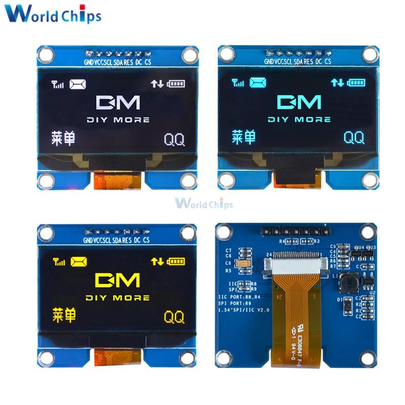 1.54 Inch 7PIN White/Blue/Yellow OLED Display Module 128x64 IIC I2C SPI Interface OLED Screen Board SPD0301 Drive IC 3.3-5V