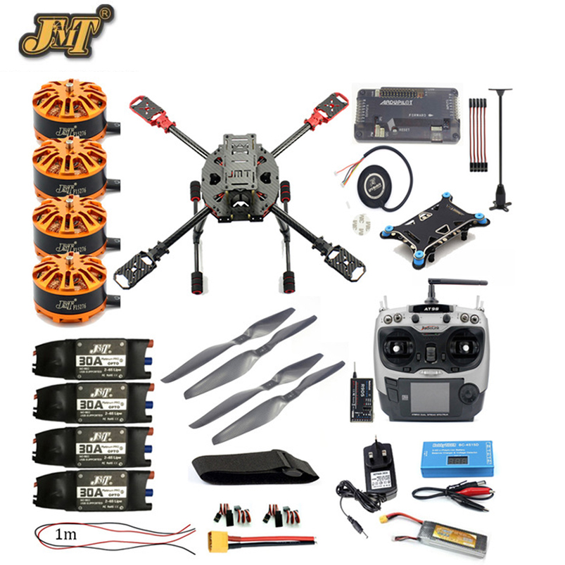 DIY Full Set FPV 2.4GHz 4-Aixs RC Aircraft APM2.8 Flight Controller M7N GPS 630MM Carbon Fiber Frame Props with AT9S TX Copter f2s flight control with m8n gps t plug xt60 galvanometer for fpv rc fixed wing aircraft