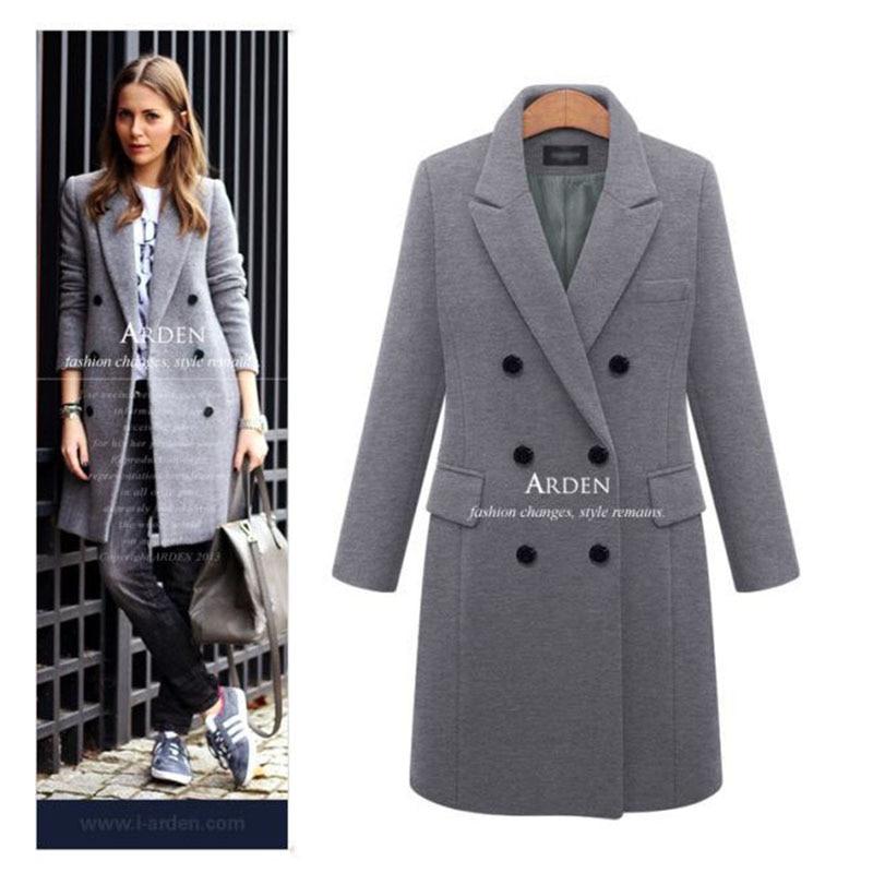 Autumn Winter Coat Women 19 Casual Wool Solid Jackets Blazers Female Elegant Double Breasted Long Coat Ladies Plus Size 5XL 6