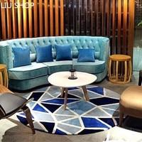 LIU Blue Mediterranean geometry carpet living room fashion tapete tea table sofa bedroom bedside study round parlor rug custom