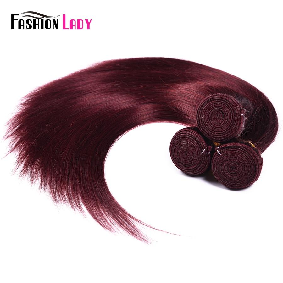 Image 5 - Fashion Lady Pre colored Red Brazilian Hair Weave Bundles Straight Hair Bundles 99j 1/3/4 Piece Per Pack Hair Extension Non remyHair Weaves   -