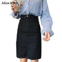 Alien Kitty Autumn High Waist Black Straight Denim Skirt 2017 Casual Zipper Placket Knee Length Pencil