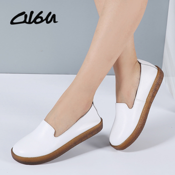O16U Women Flats Shoes Genuine Leather Slip-on Round Toe Muscle Sole Ladies casual Shoes Comfortable Soft Shoes Female Fall