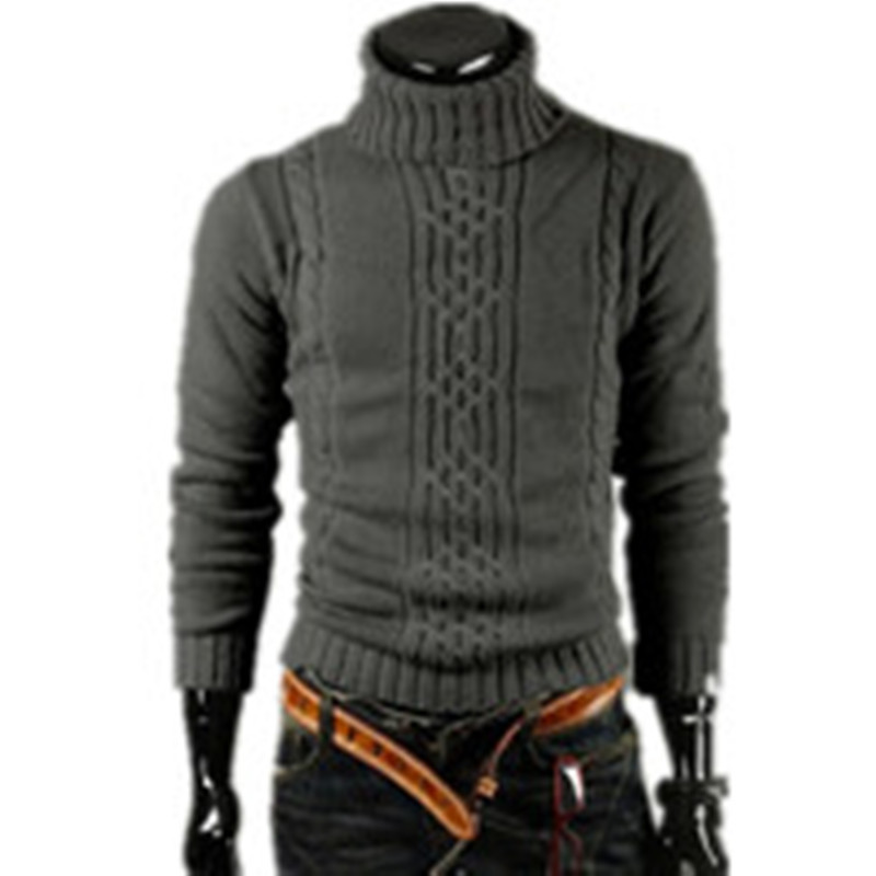2020 Autumn And Winter New Men's Thick Warm Sweater Turtleneck  Irregular Fashion Tide Models Fitted British Shipping M\l\xl\xxl