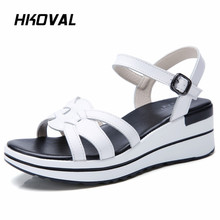 HKOVAL Women Sandals Casual Fashion Genuine Leather Summer Wedges Female Shoes Comfortable Ladies Shoes Soild Sandals beyarne summer sandals female handmade genuine leather women casual comfortable woman shoes sandals women summer shoes