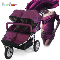 twin stroller baby pram shock absorbers lie flat running stroller Two Children Tandem Stroller Pram, Foldable Twi