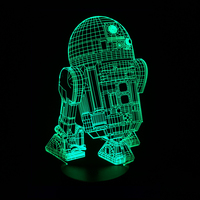 New Action Figure 7colors Robot R2D2 3D Visual LED Night Lights For Kids Friends Star War