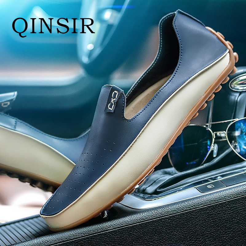 QINSIR Genuine Leather Hollow Out Summer Luxury Flats Loafers Men Shoes Boat Casual Fashion Slip On Driving Breathable Shoes men s crocodile emboss leather penny loafers slip on boat shoes breathable driving shoes business casual velet loafers shoes men