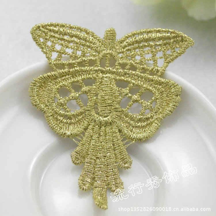 30 cái Elegant Bướm May Thêu Vàng Ren Vá Costura Motif Nón Quần Áo Appliques Broderie Một Coudre