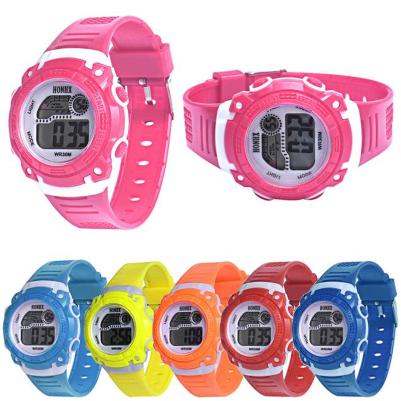 Children Girls Digital LED Quartz Alarm Date Sports Wrist Watch free shipping 0717