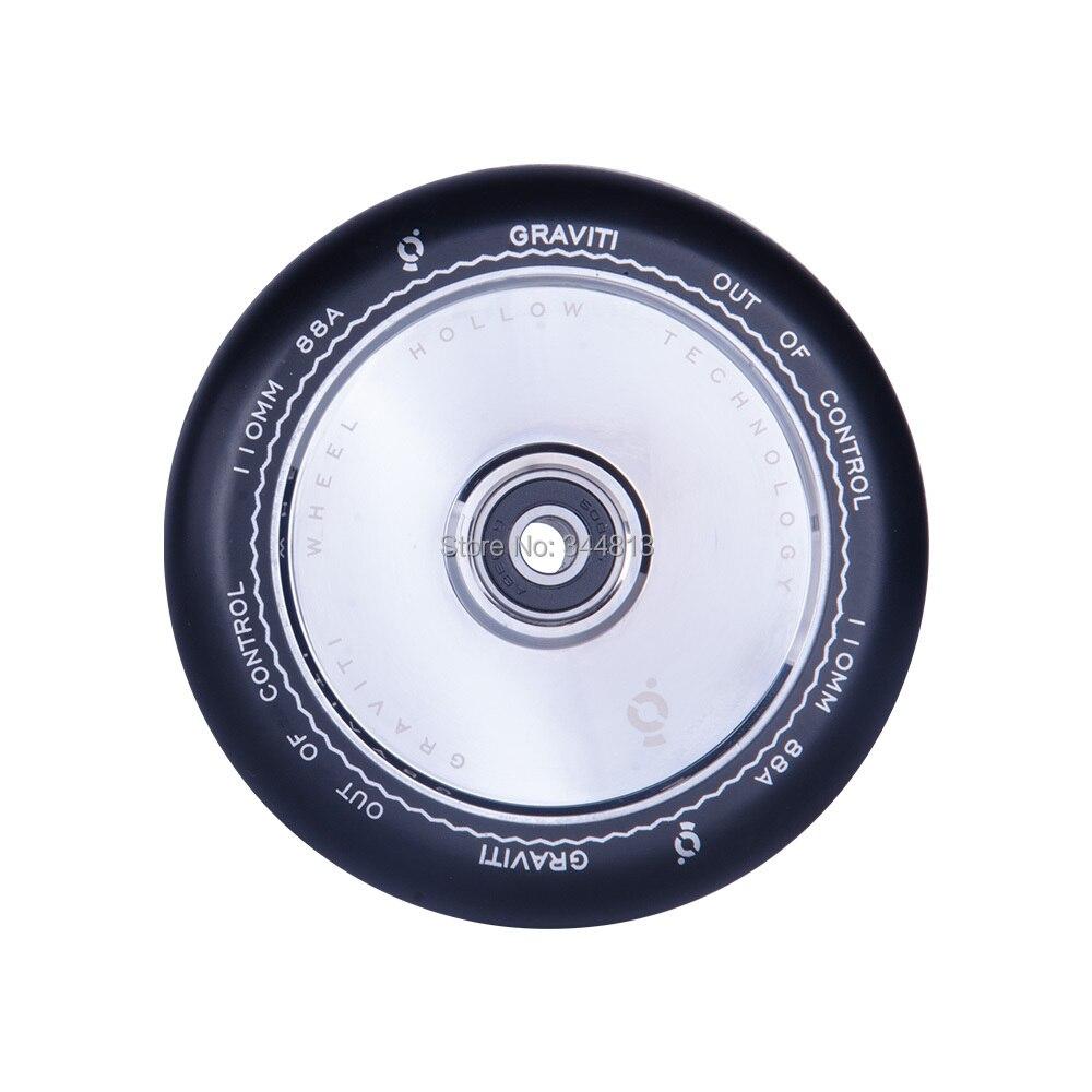 free shipping Metal Freestyle Stunt Scooter Wheels Black PU Sliver Aluminum 110 mm 2PCS lot