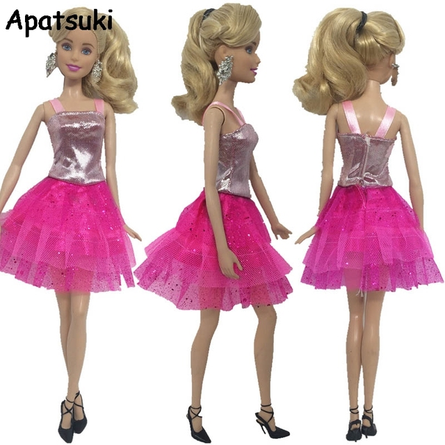 Pink Doll Clothes For Barbie Dolls One Piece Short Dress For Barbie