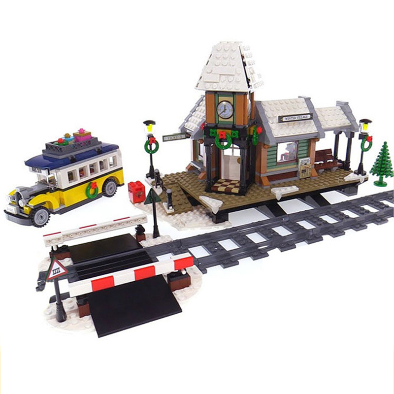 ZXZ 36011 Creative City Series the Winter Village Station Set Building Blocks Toys For Children Christmas Gifts 10259 Legoings wi fi мост ubiquiti litebeam 5ac 23 lbe 5ac 23 eu