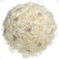 Free Shipping 1 X Handmade 30CM Wedding Bridal Bouquet Crystal Rhinestone&Pearls Artificial Bridal Flowers Bridal Bouquets