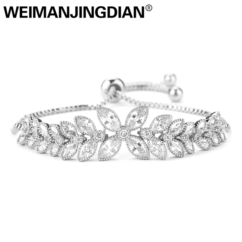 WEIMANJINGDIAN Brand Luxury Flower Design Cubic Zirconia Crystal Zircon Adjustable Drawstring Bracelets for Women Jewelry Gifts luxury brand love bracelets