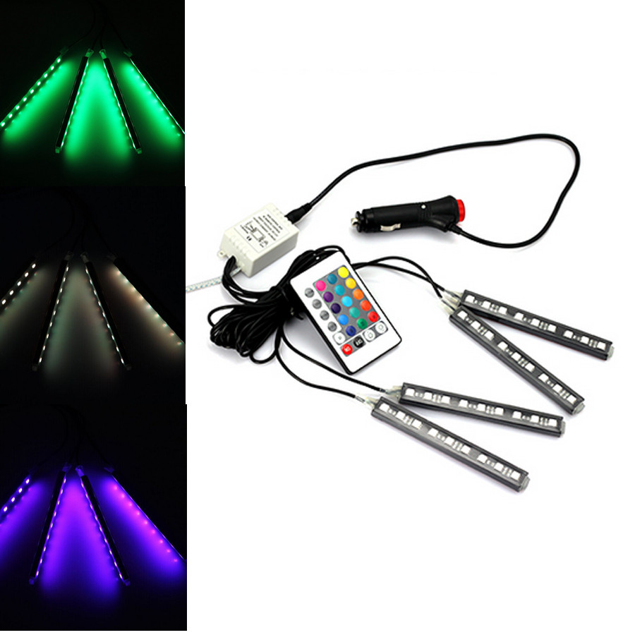 2016 4strip/set Interior Decorative Atmosphere Neon Light Lamp LED Wireless Remote Multi Color RGB Car Lighter Free Shipping for citroen ds4 ds 4 wireless control color neon glow interior under dash footwell floor decorative atmosphere seat accent light