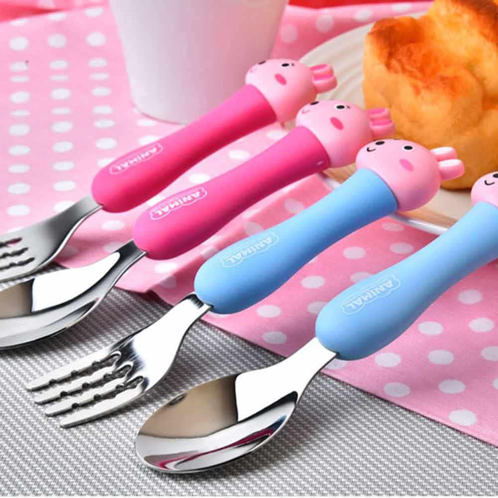 Qshare เด็กวัสดุการ์ตูนชุดช้อนส้อมนักเรียนสแตนเลสสตีลบนโต๊ะอาหารสัตว์ชุดช้อนส้อมเครื่องครัวเด็กทารกกิน
