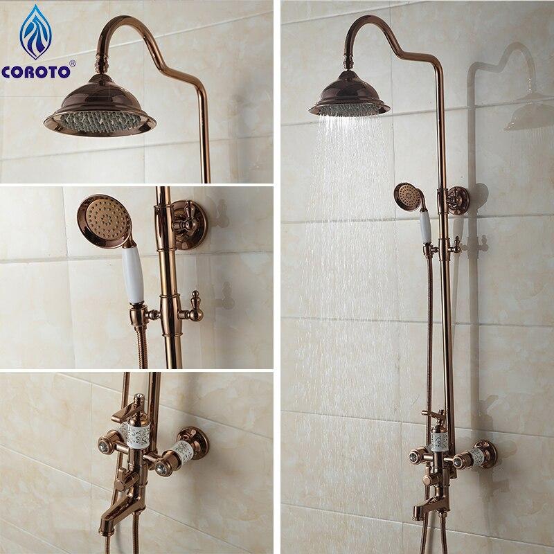 Shower Set Rose Gold Shower Panel for Shower Room