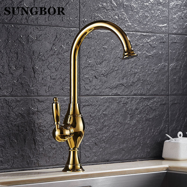 European Golden Kitchen Faucet Hot And Cold Vegetables Basin Rotating Taps  All Copper Antique Kitchen Sink Faucet CF 9062K