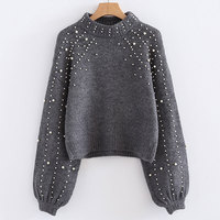 Elegant pearls beading decorate knitted sweaters long sleeve stretchy loose pullovers short style female casual tops