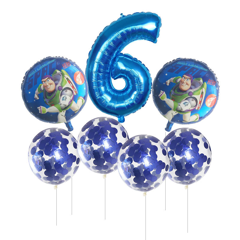 7pcs Toy Buzz Lightyear balloons 30 Inch Number Blue pink silver foil balloons story happy birthday party balloons kids toys in Ballons Accessories from Home Garden