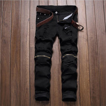 2016 Mens Ripped Jeans Black Knee Zipper Male Jeans Elastic Slim fit Pencil Jeans P4016