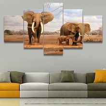 Africa Elephant 5 Piece Canvas HD Print Animal Painting Wall Art For Living Room Modern Artwork