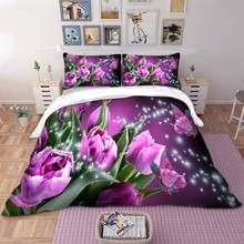 Bed Linen Set with bedding set Twin Full Queen King UK Double Size 3D Butterfly Duvet Cover with Pillow Cases(China)